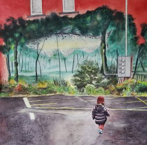 watercolor of child in a landscape