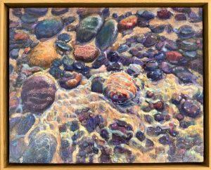 Acrylic painting of stones in water