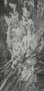 Graphite drawing of a campfire