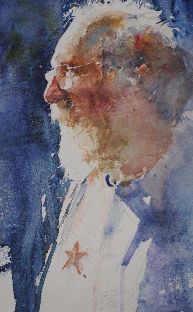 Watercolor of older man