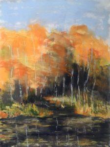 Pastel of landscape in autumn