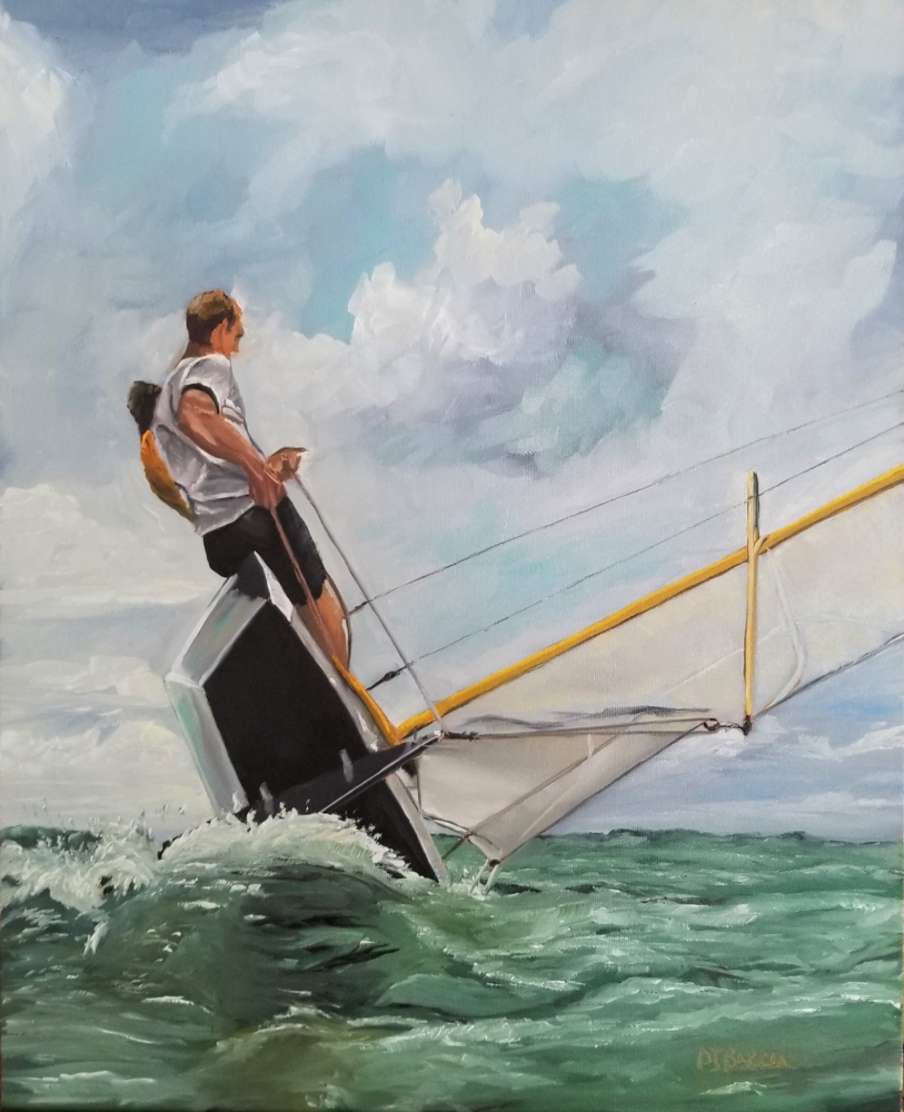 Oil painting sailing on sail boat