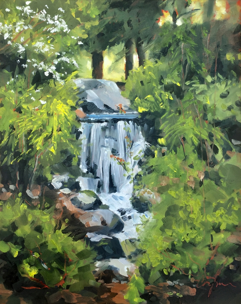 Oil painting of a garden and waterfall