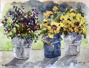 Watercolor of flowers in pails