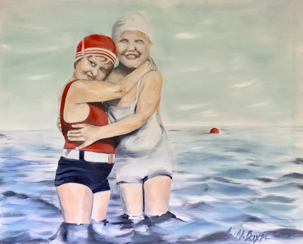 Oil painting with bathing beauties