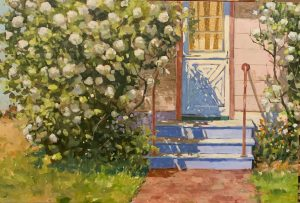 Oil Painting of white flowers and doorway