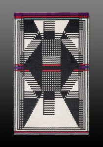 Black and white geometric tapestry
