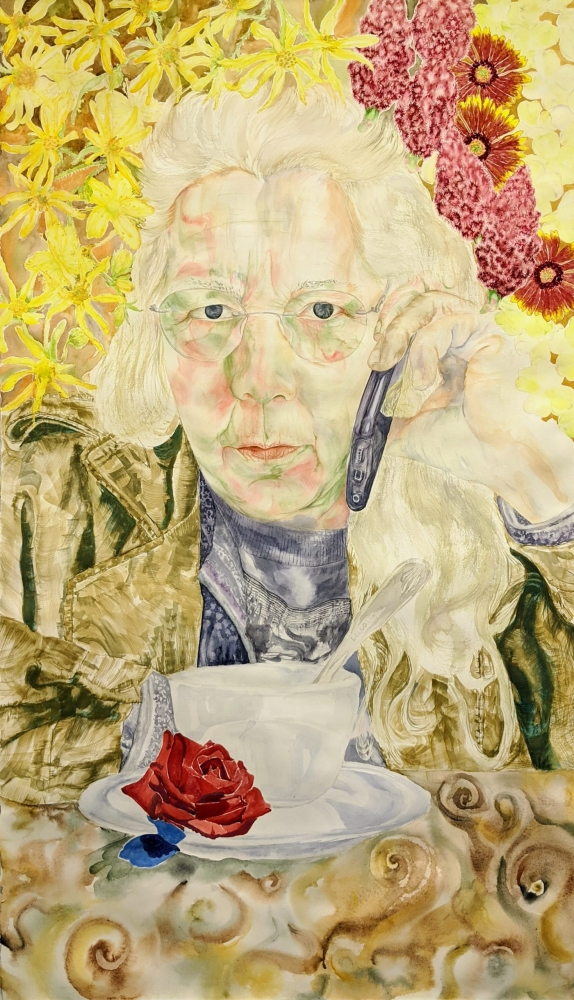 Watercolor painting of older woman