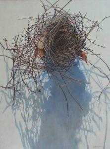 acrylic painting of a bird's nest