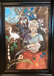 Watercolor with collage painting of a woman and chicken and heron