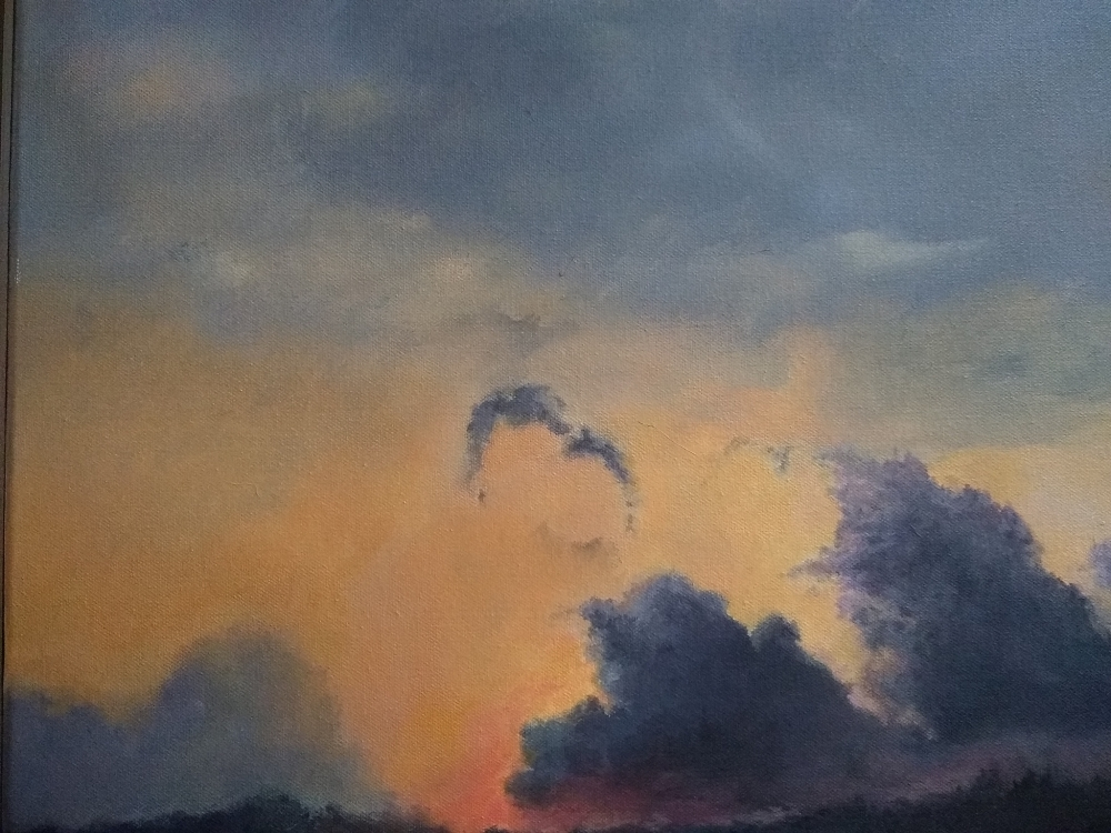 Acrylic painting of sunset with stormy sky