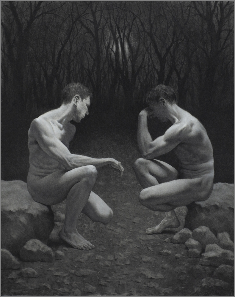 Charcoal drawing of two figures