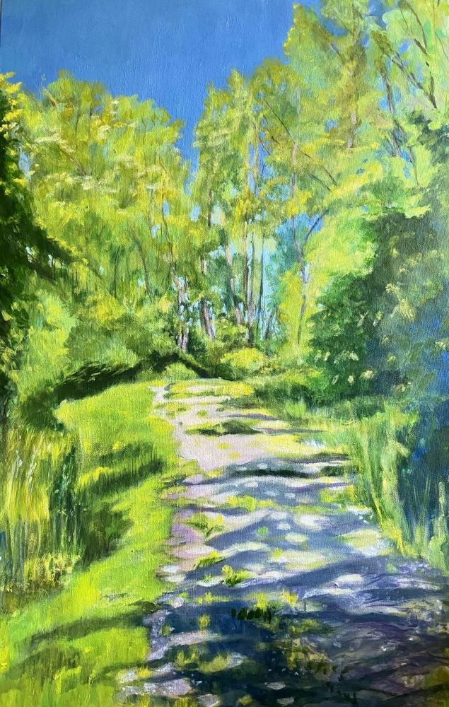 Acrylic landscape painting on canvas in green and blue