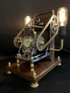 land camera turned into a lamp vintage