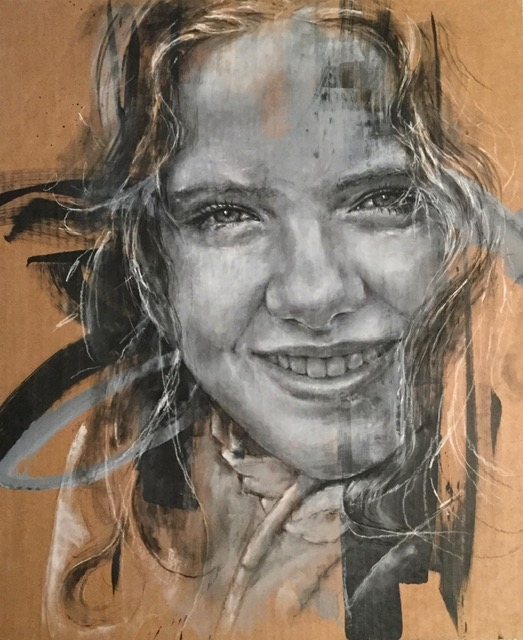 Charcoal and white pencil portrait on cardboard