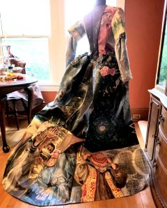 Historic gown made of painted canvas