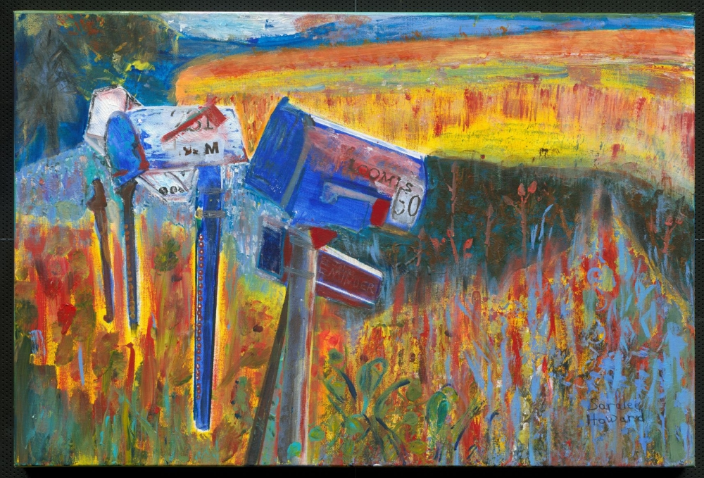 Colorful painting of rural mailboxes