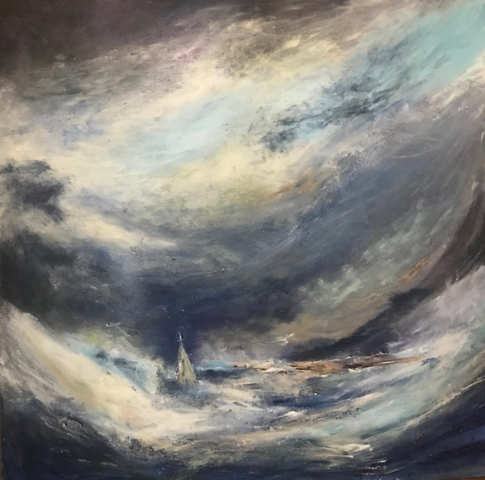Oil and Acrylic painting of a storm