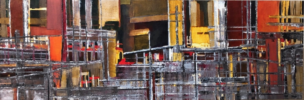 abstract oil painting reds and golds