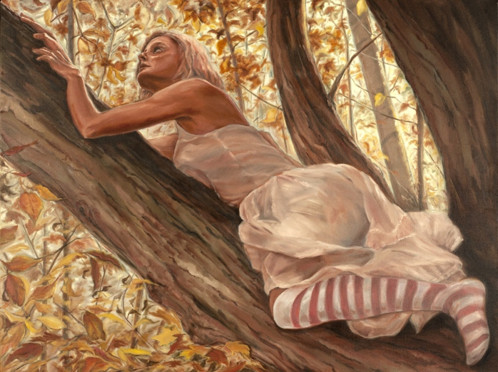 Oil painting of woman climbing a tree