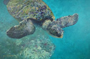 Acrylic painting of a turtle