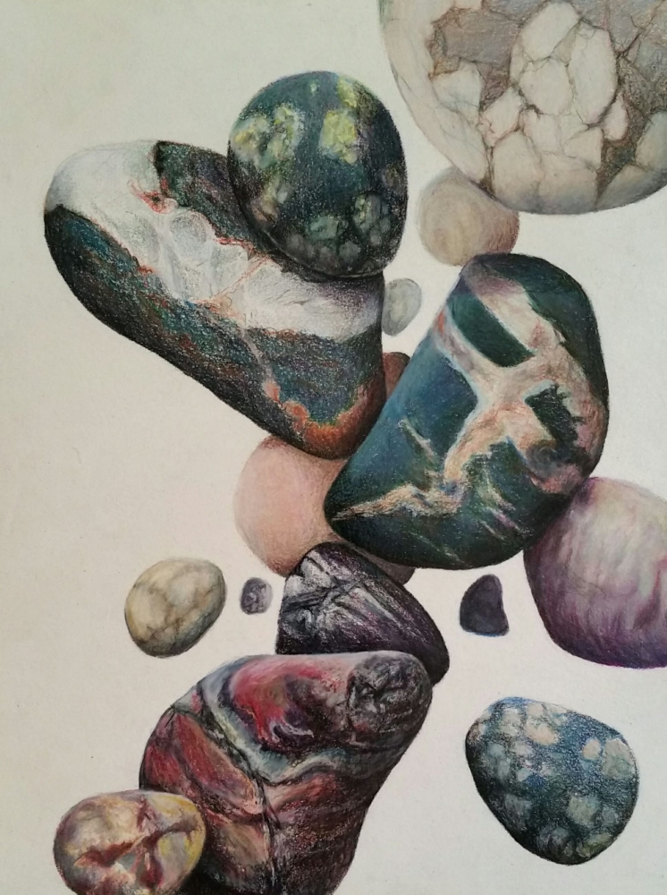 Colored Pencil of falling stones