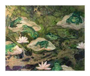 Watercolor with croaking frogs on Lily Pad