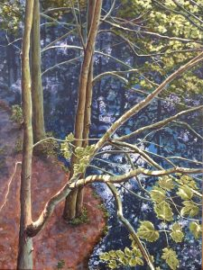 Acrylic painting of a forest and stream