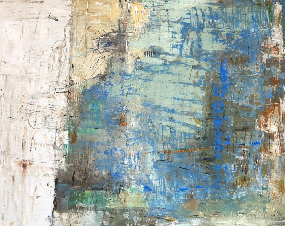 abstract painting in blues and creams