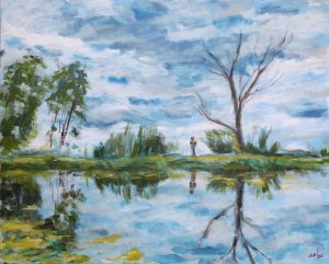 Oil painting of landscape with pond
