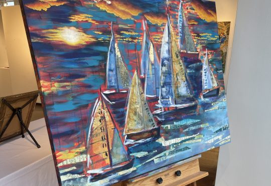 """Progressive """"Sails Away"""" Painting created during Wednesday Concerts in the Park, Bay City"""